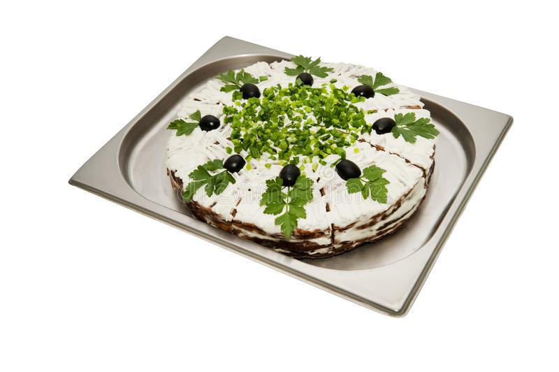 Gâteau de foie avec des verts photos libres de droits