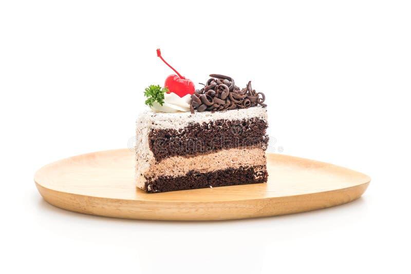 Gâteau de forêt noire sur le fond blanc images libres de droits