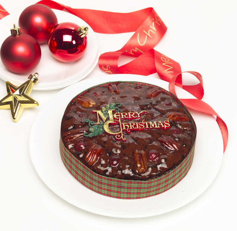 Gâteau de fruit de Noël image libre de droits