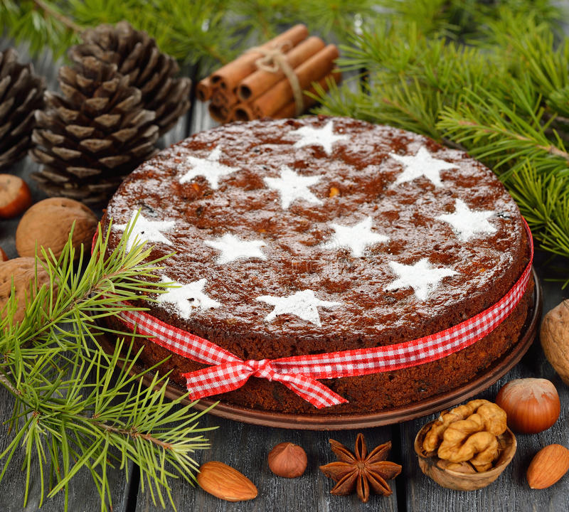 Gâteau de fruit de Noël photos stock