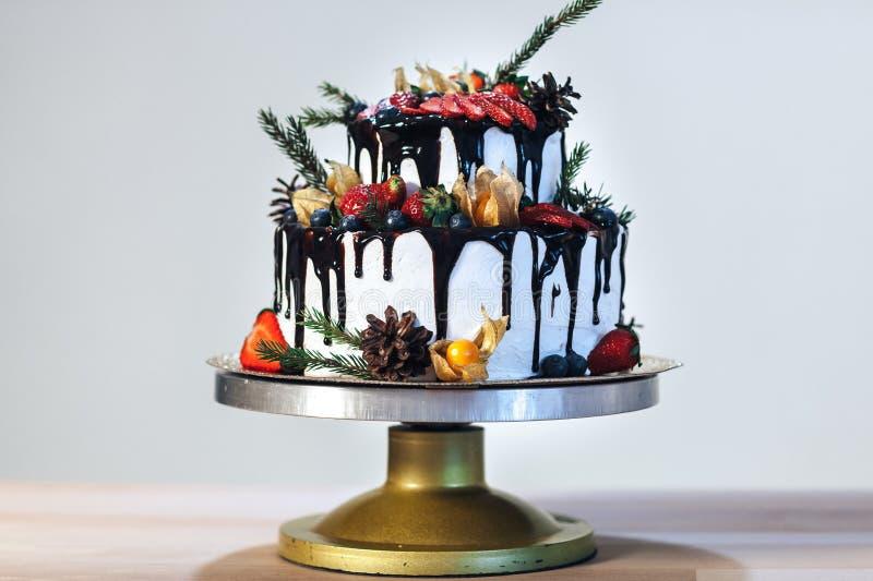 Gâteau de glaçage crème blanc avec les fruits et le chocolat, gâteau nu de mariage sur le fond blanc, vue de côté photographie stock