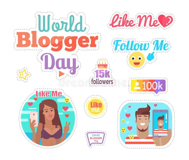 Gâteau de jour de Blogger du monde avec le vecteur d'ensemble de bougies illustration de vecteur