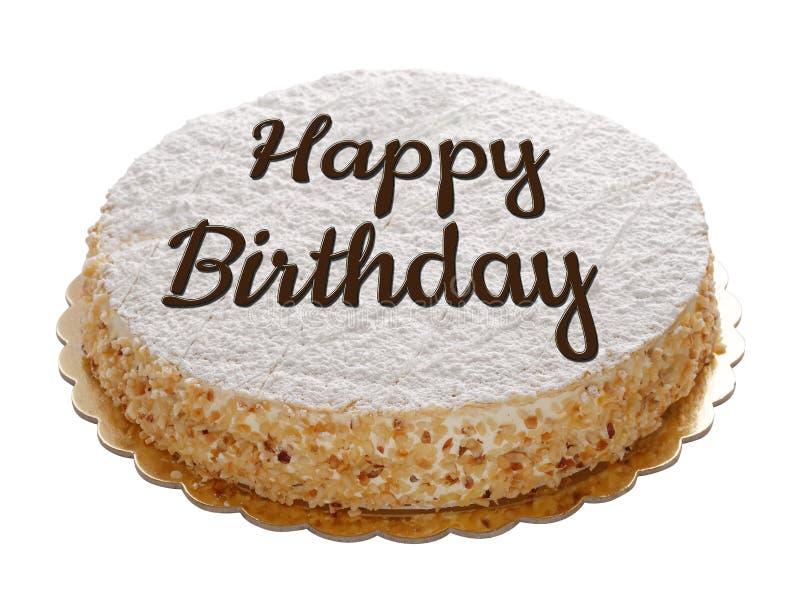 Gâteau de joyeux anniversaire d'isolement photos stock