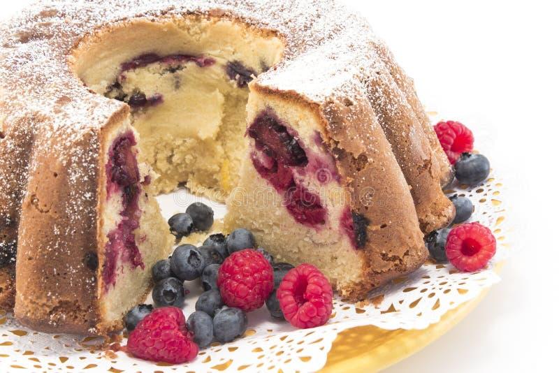 Gâteau de livre avec le plan rapproché de baies photos stock
