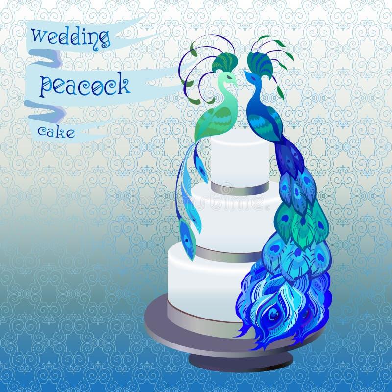 Gâteau de mariage avec des paons de couples Conception bleue et verte de vecteur illustration de vecteur