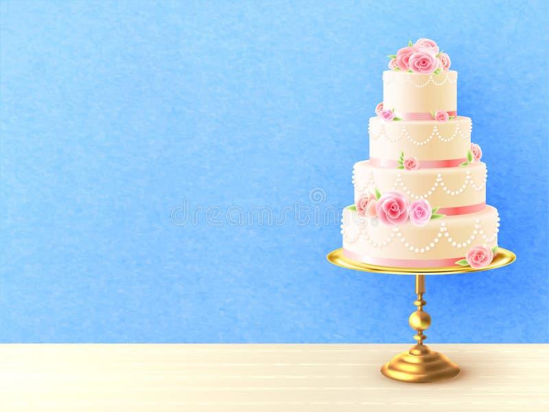 Gâteau de mariage avec l'image réaliste de roses illustration de vecteur
