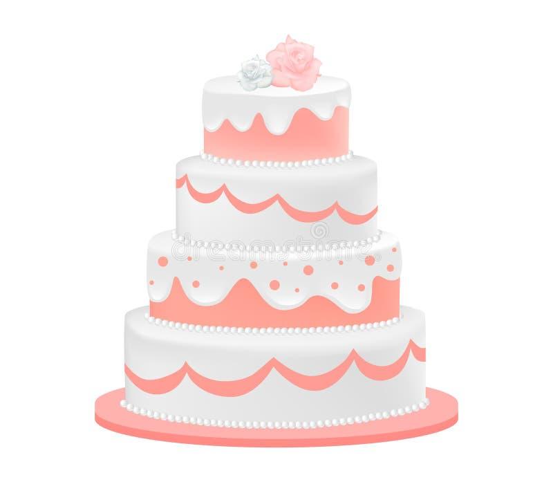 Gâteau de mariage décoré des roses photo libre de droits