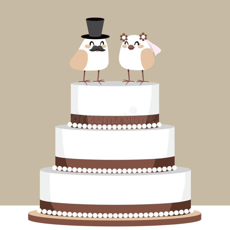 Gâteau de mariage d'amour d'oiseaux illustration libre de droits