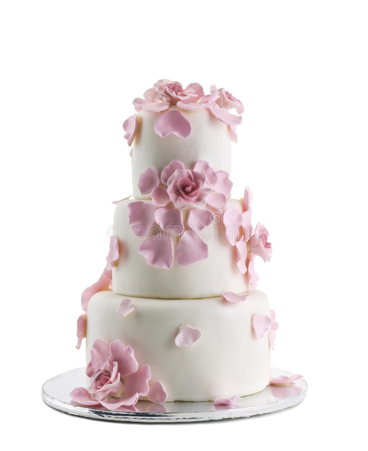 Gâteau de mariage d'isolement sur le fond blanc images stock