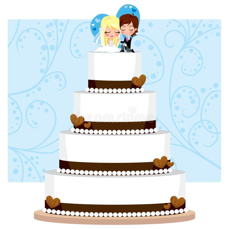 Gâteau de mariage de chocolat illustration libre de droits