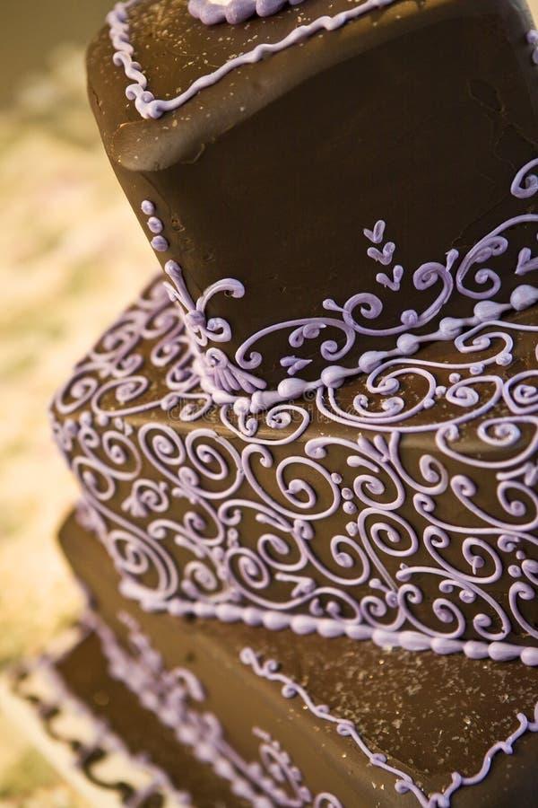 Gâteau de mariage de chocolat image libre de droits