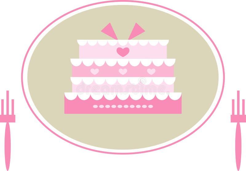 Gâteau de mariage rose mignon illustration stock