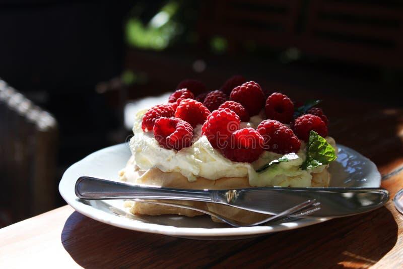 Gâteau de meringue avec des framboises photographie stock libre de droits