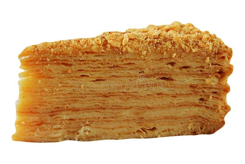 Gâteau de napoléon d'isolement sur le blanc photo stock