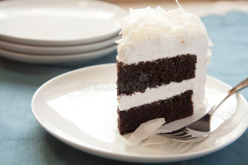 Gâteau de noix de coco de chocolat photos stock