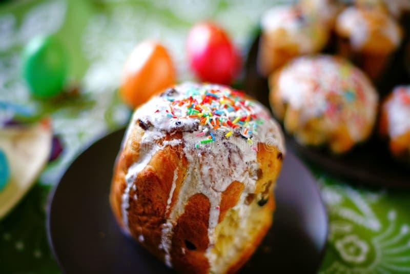 Gâteau de Pâques  Jour heureux Pâques lumineuse Vacances orthodoxes de Pâques closeup photographie stock libre de droits