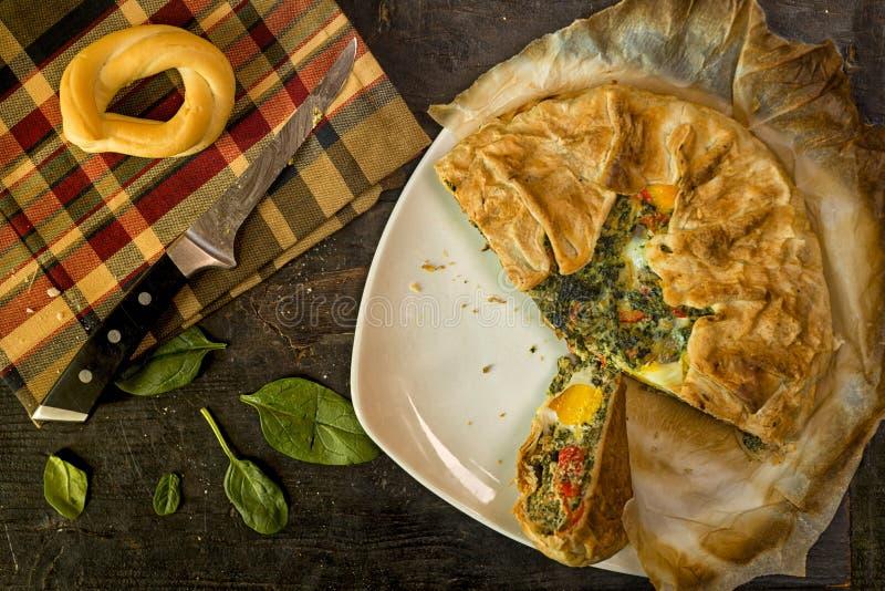 Gâteau de Pasqualina - au goût âpre, reçu italien images libres de droits