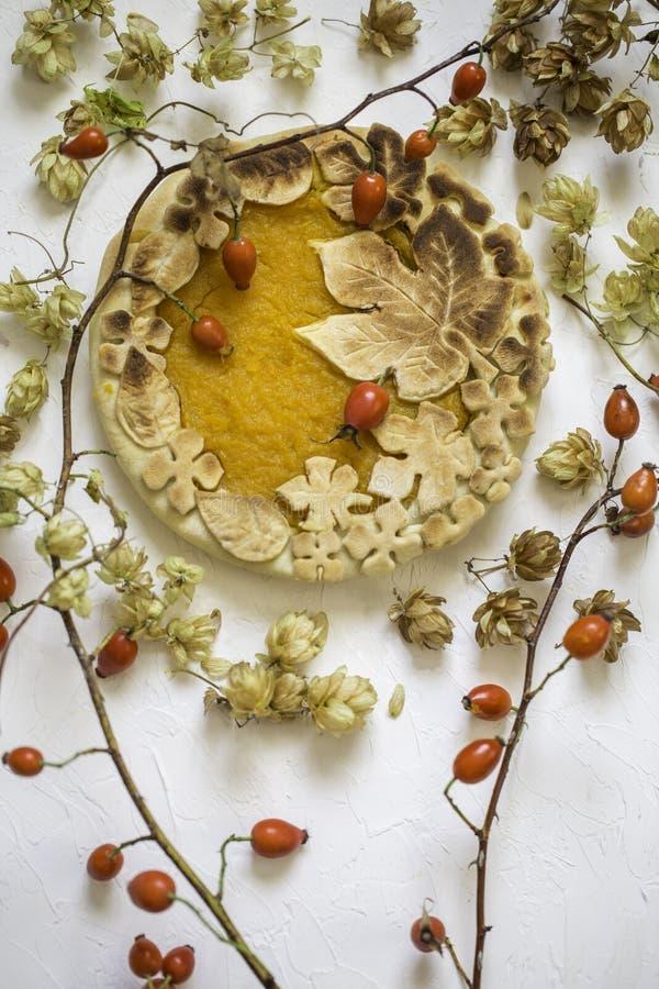 Gâteau de potiron décoré des chiffres faits de pâte pour tomber style image stock