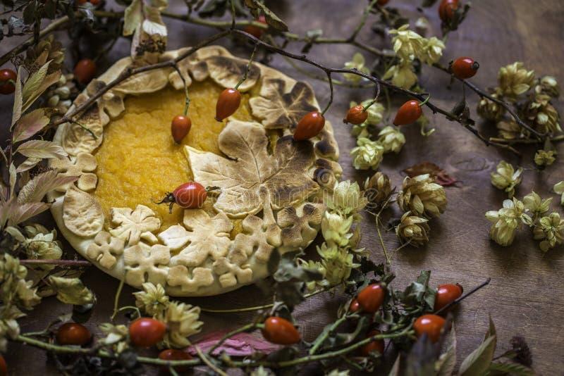 Gâteau de potiron décoré des chiffres faits de pâte pour tomber style photos stock