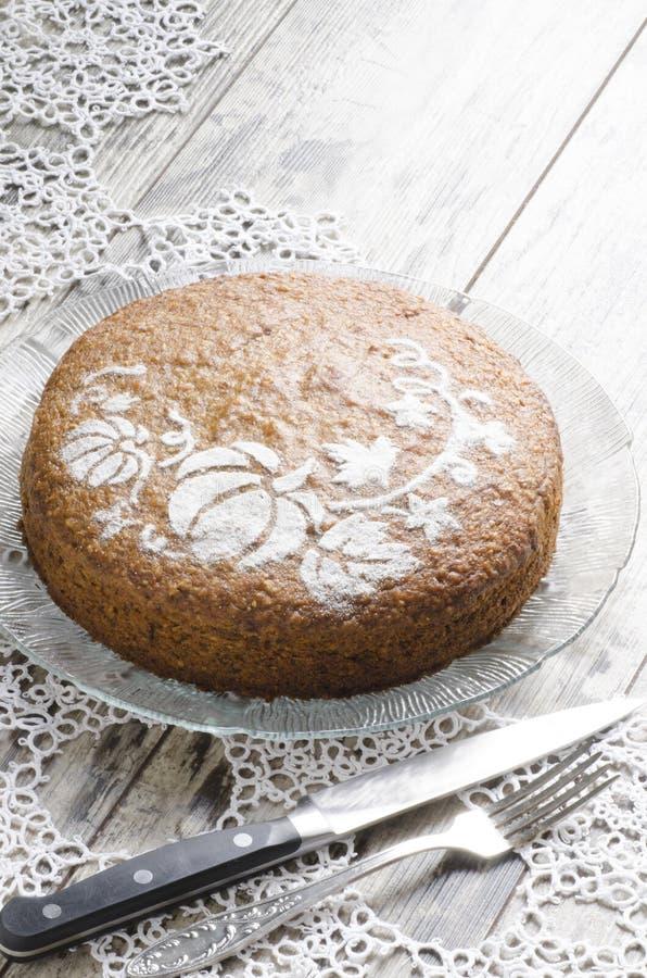 Gâteau de potiron de la glace et dentelle napking image libre de droits