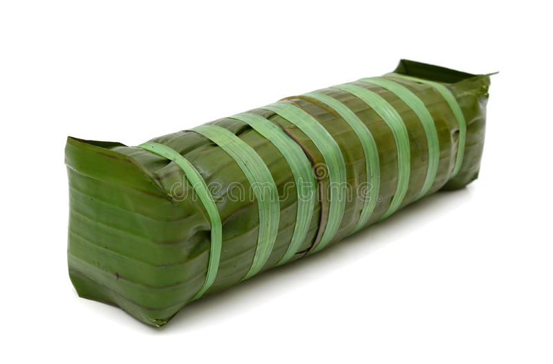 Gâteau de riz visqueux cylindrique, nourriture vietnamienne de nouvelle année photographie stock