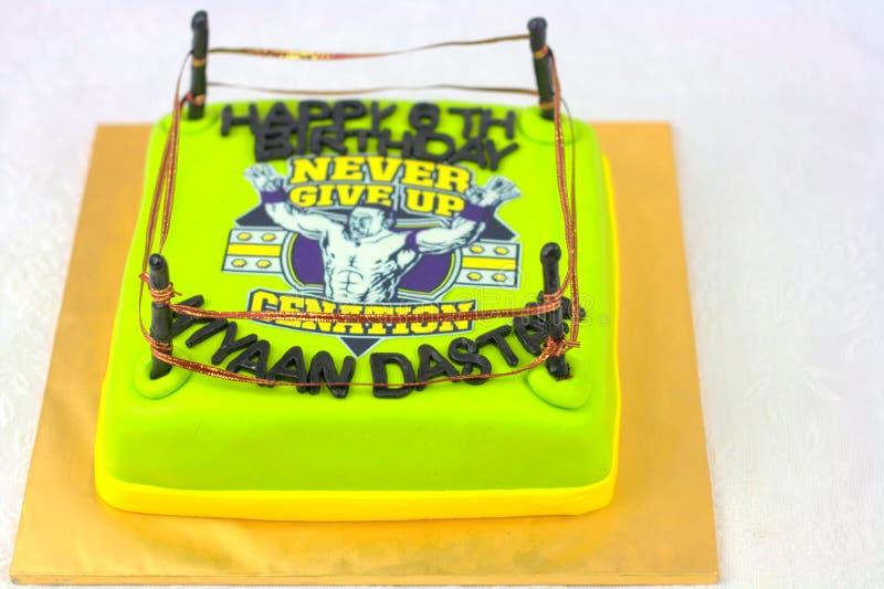 Gâteau de thème de Cenation WWE photos stock