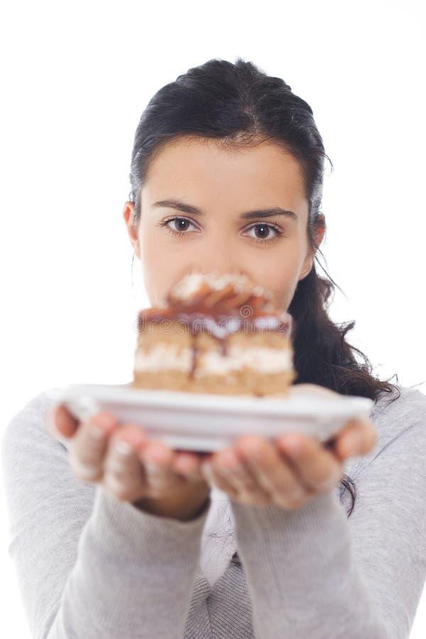 gâteau donnant la partie images stock