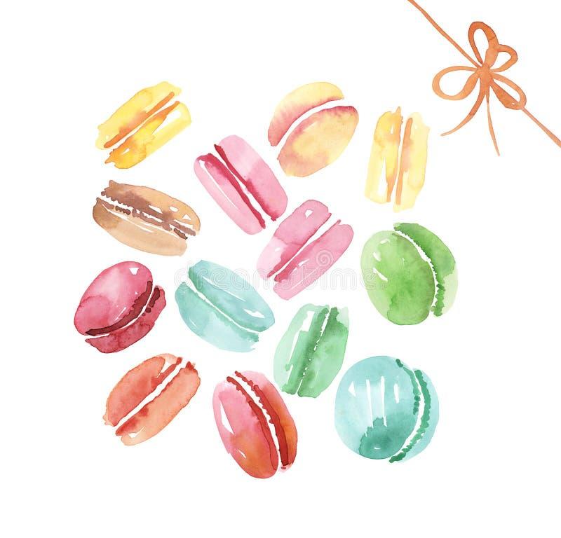 Gâteau doux assorti coloré de macaron illustration stock