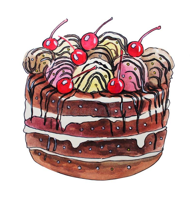 Gâteau doux avec des cerises illustration libre de droits