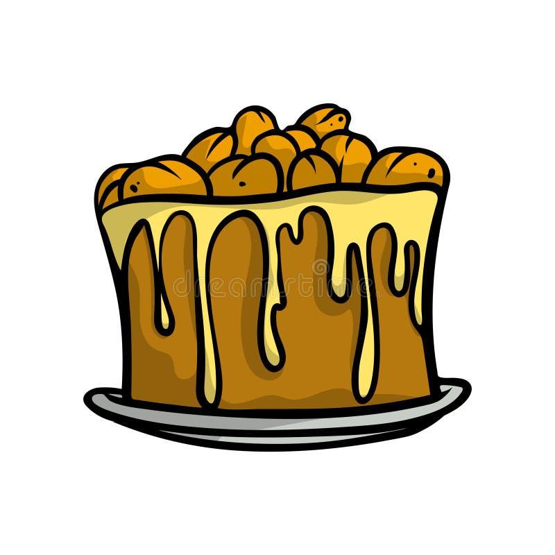 Gâteau doux de Brown avec les écrous frais, crème jaune de miel illustration stock