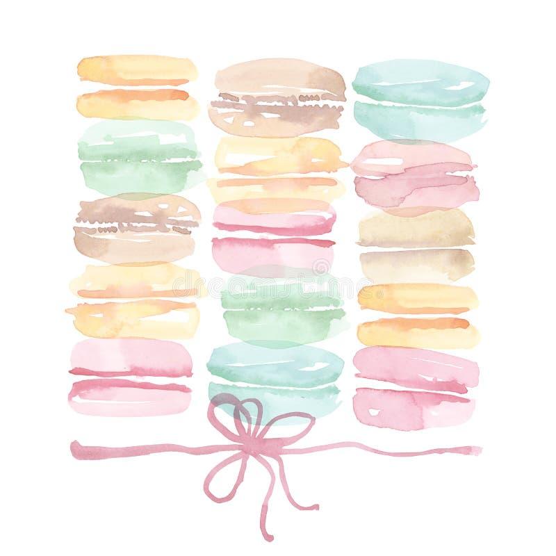 Gâteau doux de macaron assorti par couleur pâle illustration libre de droits