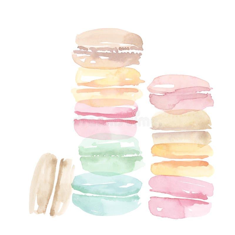 Gâteau doux de macaron assorti par couleur pâle illustration stock