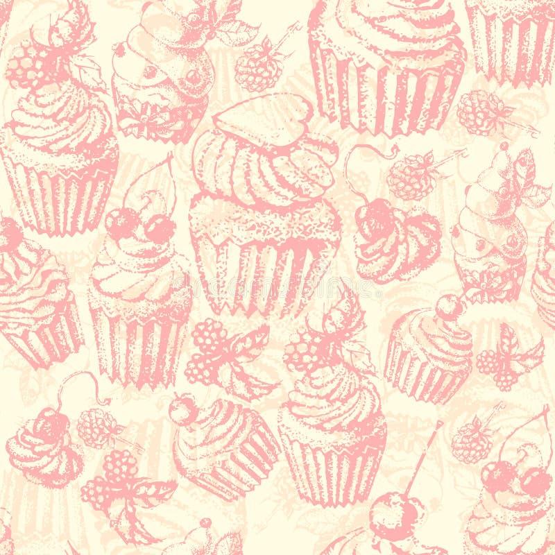 Gâteau doux de modèle sans couture mignon illustration stock