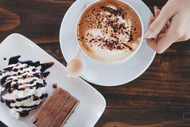 Gâteau et café photo stock