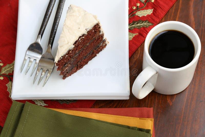 Gâteau et café de chocolat photos stock
