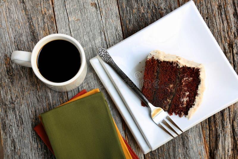 Gâteau et café de chocolat images stock