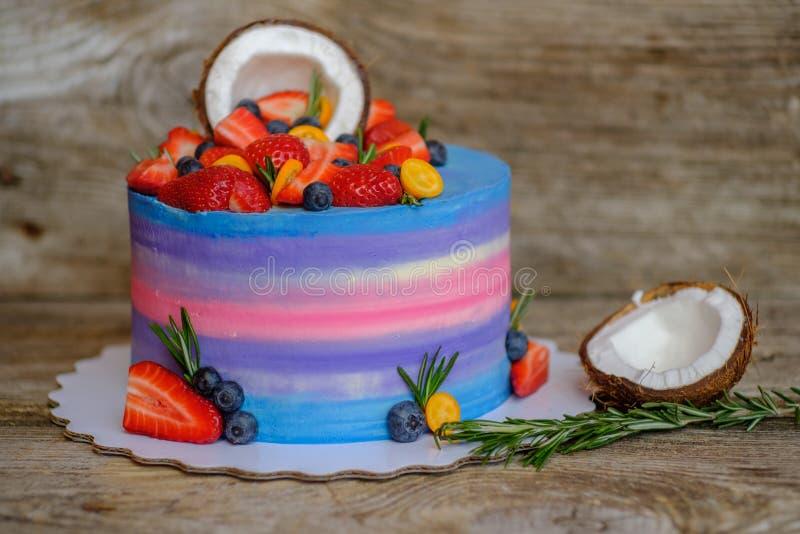 Gâteau fait maison avec des fraises, des myrtilles et la noix de coco photo libre de droits