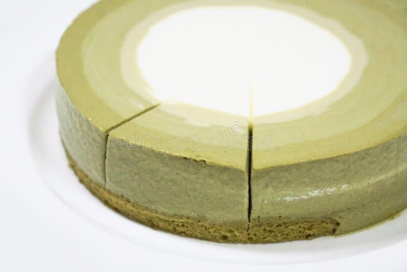 Gâteau fait maison de mousse de thé vert photo stock