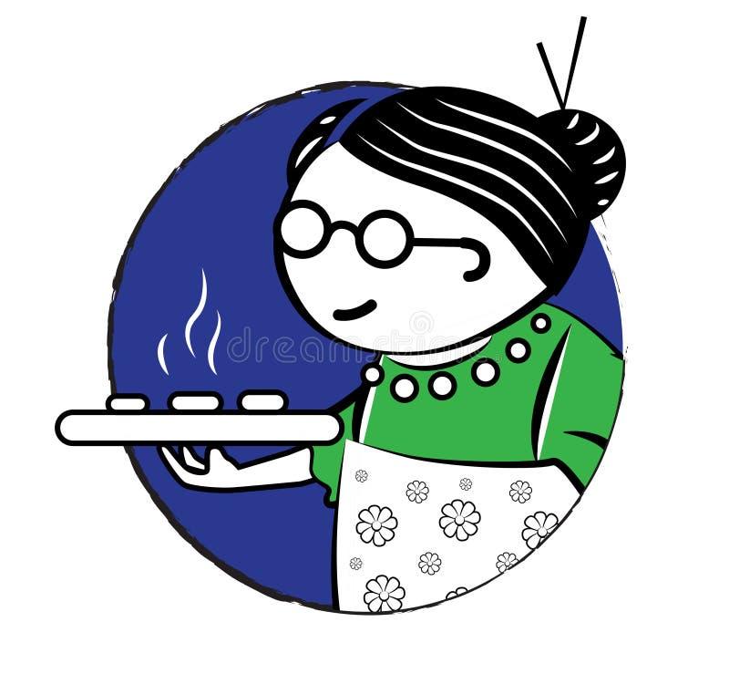 Gâteau Logo Design de grand-maman illustration de vecteur