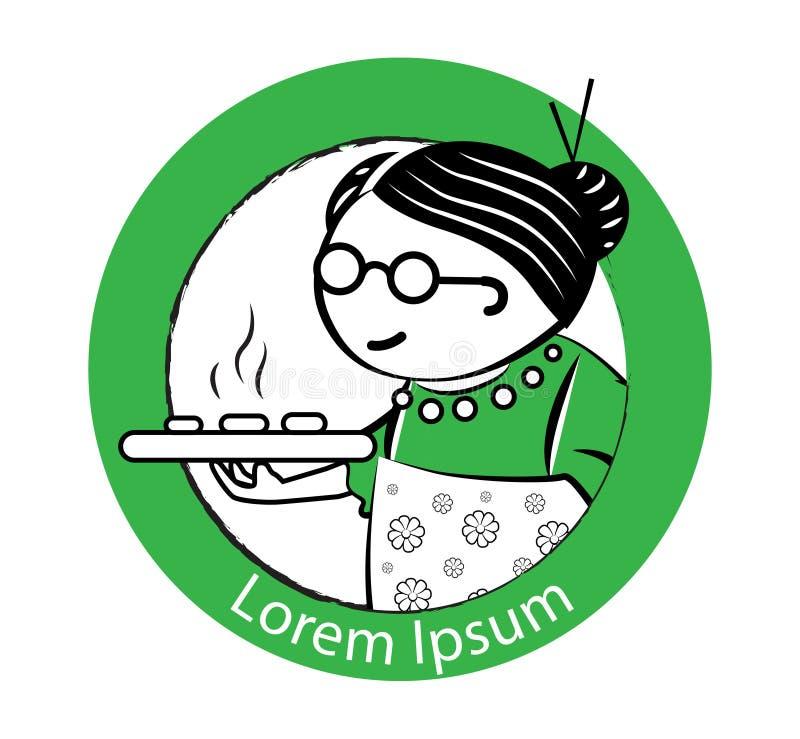 Gâteau Logo Design de grand-maman illustration stock