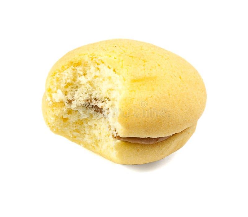 Gâteau mousseline mordu image libre de droits