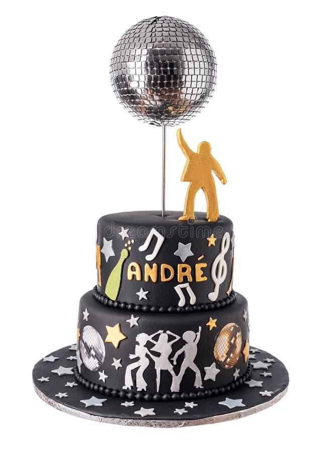 Gâteau noir conceptuel sur le thème de la discothèque et de la danse photo stock