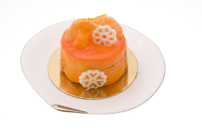 Gâteau orange photographie stock