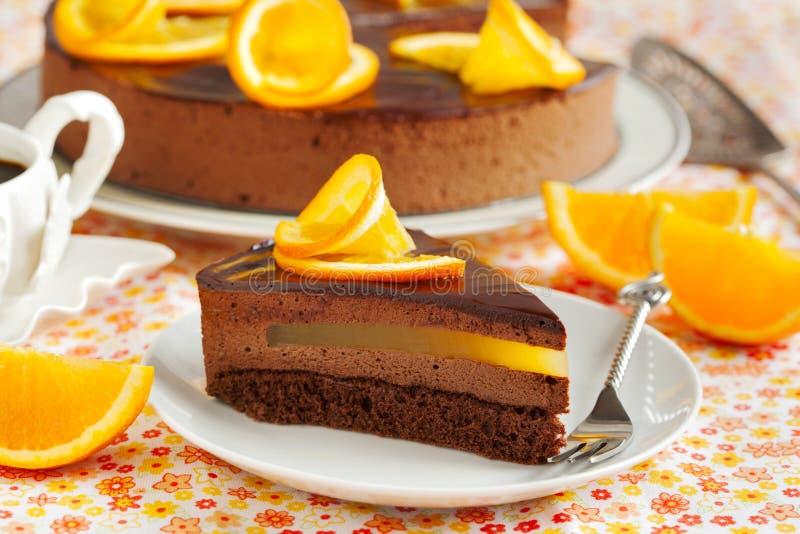 Gâteau orange de mousse de chocolat image stock