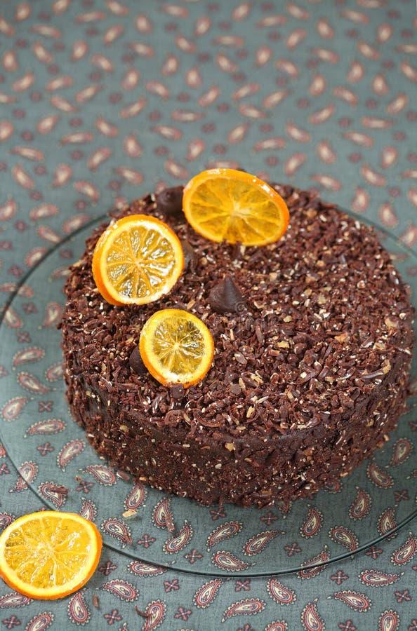 Gâteau orange de truffe de chocolat de Vegan photos stock