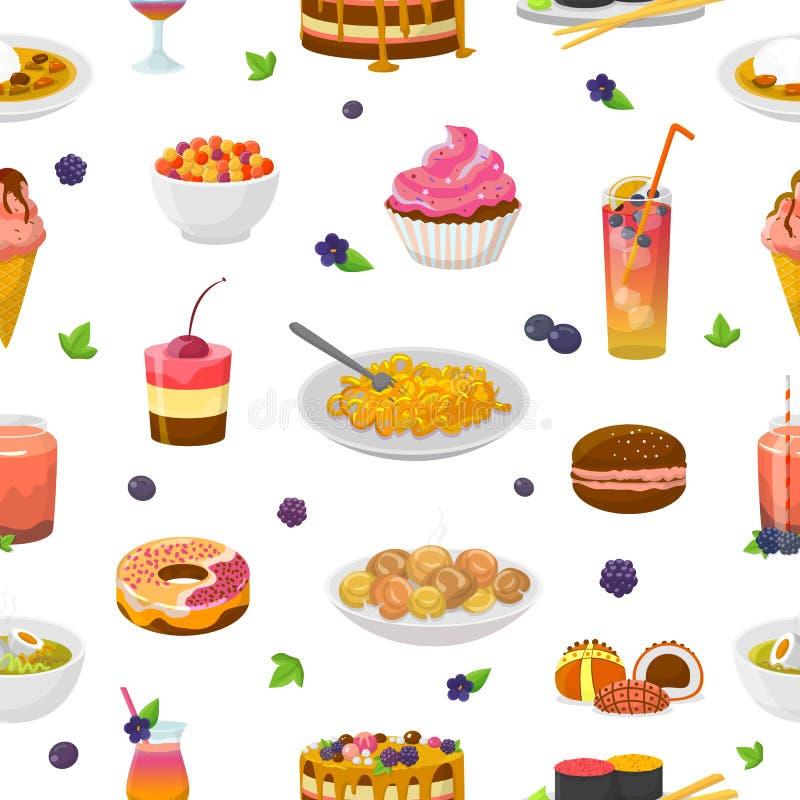 Gâteau ou petit gâteau bleuâtre de vecteur de nourriture avec la myrtille et le dessert doux avec l'ensemble bleuâtre de turquois illustration libre de droits