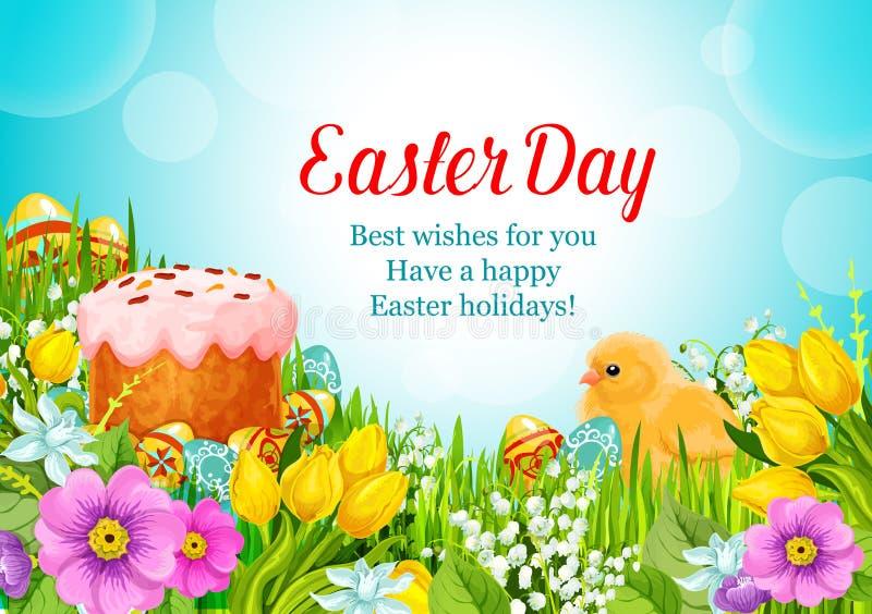 Gâteau pascal de salutation de vecteur de Pâques, oeufs, fleurs illustration libre de droits