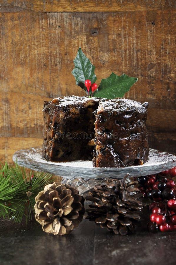 Gâteau riche épicé foncé de fruit de Noël photographie stock
