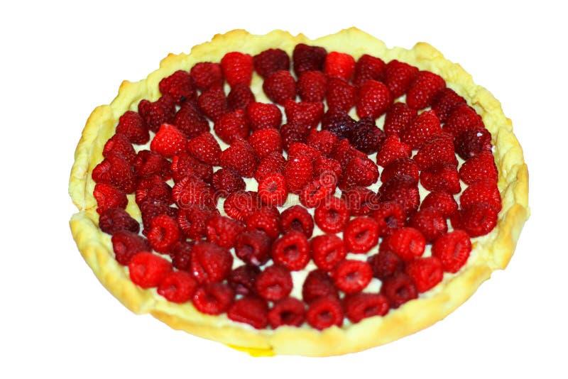 Gâteau rond délicieux avec la framboise photo libre de droits