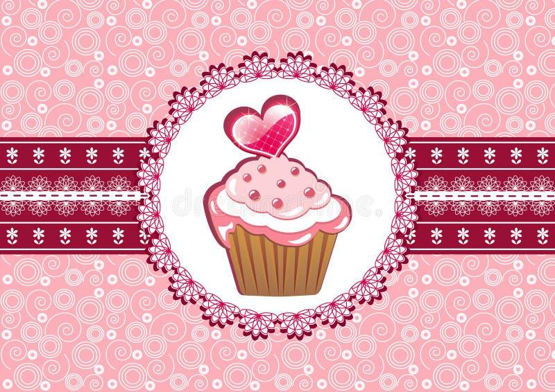 Gâteau sur le napperon. illustration libre de droits